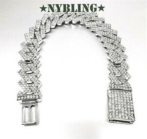 "Miami Cuban Bracelet Diamond Prong Style Mens Hip Hop Jewelry Silver 7.5""- 9.5"""