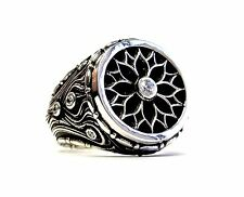 Men's Custom Silver Loyalty Ring With White Diamonds By Sacred Angels