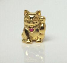 Genuine Pandora Waving Lucky Cat Charm Silver 14K Gold Plated 790989EN05