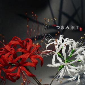 Lycoris Hairpin Silk Hair Stick Japanese kimono Headwear Accessories Red White