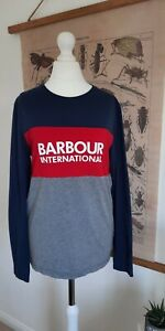 Barbour Womens Navy Red T Shirt Long Sleeve Casual Size X SMALL SMALL Soft Logo