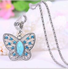 New Vintage Turquoise Butterfly Crystal Inlay Pendant Silver Necklace Chain 405