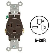 100 Pk Leviton 20A Brown 6-20R Grounding Single Electric Outlet S00-05821-00S