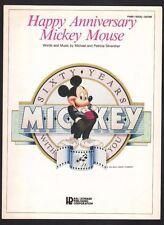 Happy Anniversary Mickey Mouse 1988 Disney Cartoon Animation Sheet Music