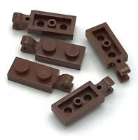 Lego 5 New Reddish Brown Plates Modified 1 x 2 with Clip Horizontal on End Parts