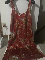 Natori Red Floral Silk Lingerie Women Size M