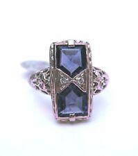Vintage Iolite ring in pierced 14K white gold setting