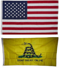 USA and Gadsden Tea Party Flag 3x5 EMBROIDERED 2 double sided Flag Wholesale Lot