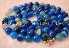 Pretty Blue 10mm Striped Agate Onyx Gemstone Round Necklace Long 35 Inch