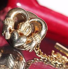 14k yellow gold Irish claddagh pin vintage handmade 3.4gr