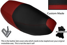 DARK RED & BLACK CUSTOM FITS PIAGGIO SKIPPER 125 DUAL LEATHER SEAT COVER