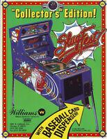Slugfest Pinball FLYER Baseball Game Original 1991 NOS Williams Pitch & Bat