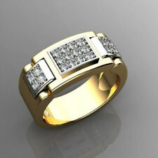 Fine Jewelry 18 Kt Real Solid Yellow Gold CZ Men'S Engagement Ring Size 9,10,11