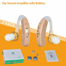 2 Digital Hearing Aids Kit Battery Behind the Ear BTE Sound Voice Amplifier