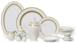 Royalty Porcelain Vintage Antique Gold 57pc Dinnerware Set 'Amelia', Bone China