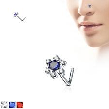 """CZ Gem Flower Top 316L Surgical Steel """"L"""" Bend Nose Stud / Ring"""