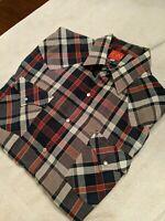 ELY PLAINS Western Pearl Snap Shirt Men's XL Multi Colored Plaid Short Sleeve