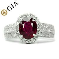 GIA Certified 2.13ct Natural Unheated Ruby Ring 82pcs 1ct VS/G DIAMOND 14K Gold