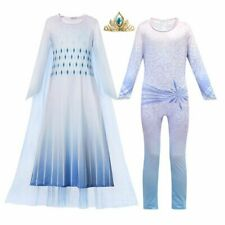 Printed Elsa 2 Princess Costume With Tulle Cloak Jumpsuit Halloween Party Gown