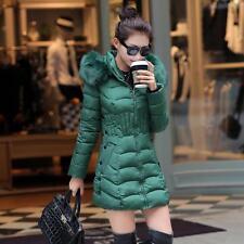 Winter Women Down Warm Long Padded Fur Collar Hooded Coat Jacket Outwear