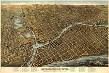 "20x30"" CANVAS Decor.Room design print.1800s bird eye Milwaukee city.Aerial.6129"
