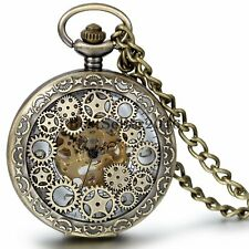 Vintage Bronze Skeleton Windup Mechanical Pocket Watch Mens Steampunk Gear Wheel