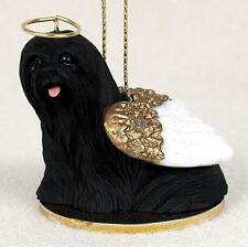 Lhasa Apso Dog Figurine Angel Statue Hand Painted Black