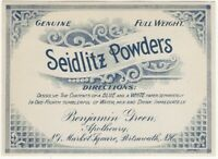 Vintage Seidlitz Powders Apothecary Label - Drugstore Patent Medicine