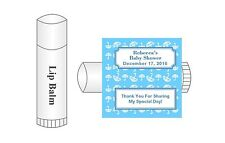 20 Personalized Lip Balm Glossy Baby Shower Boy Umbrella Favor Labels Stickers