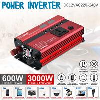 Solar Power Inverter 3000W Peak 12V DC à 220V AC Convertisseur Onduleur LCD FR