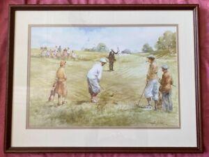 Good Quality Large Framed Glazed DOUGLAS E.WEST Golfing Print 'The Long Chip'
