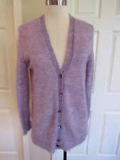 J CREW Ladies Cardigan Sweater Fluffy Soft Mohair Lavender purple Vneck Sz M EUC