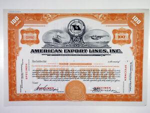 NY. American Export Lines, Inc., 1936 100 Shrs Specimen Stock Cert., VF SBN