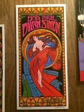 Bob Dylan Paul Simon 1999 poster Handbill Signed 60s Art Icon Bob Masse
