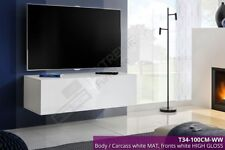 TV Wall Mounted Cabinet Stand High Gloss Fronts Storage Shelf Unit Modern White