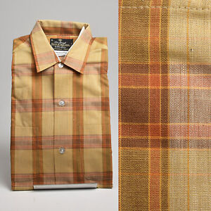 Small 1960s Deadstock Plaid Shirt Cotton Long Sleeve Brown VTG Fruit of the Loom