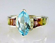 Unique, Marquise Blue Topaz & Multi-Color Gemstone Ring 925 Sterling Silver