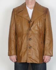 "Leather Jacket UK 44"" Large XL 1970's Fitted Brown 70's Vintage (64R)"