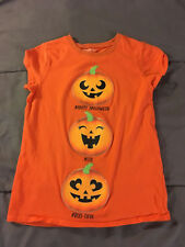 Children's Place Orange HALLOWEEN Pumpkins T-Shirt Girl's Tee Medium 7/8 FAST!