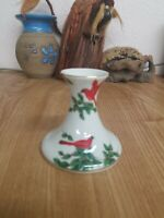 Lefton Cardinal Holly Berries Christmas Candle Holders Japan Porcelain 3.5 tall