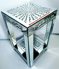 Mirrored End Table Square Sparkly Silver Diamond Crush Crystal Star Shine Design
