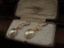 Vintage Baroque Pearl Drop Pierced Earrings with Clear Crystals