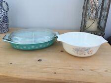 2 x Vintage Pyrex Dishes Iris Casserole Oven/Pot, no lid & 1 Serving Dish + Lid