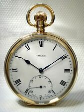 ROLEX ANTIQUE SWISS SOLID GOLD POCKET WATCH – 9ct GOLD – ART JEWELLERY 1929 UK
