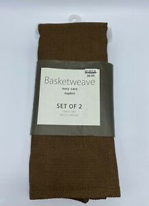 "Basketweave Cloth Napkins Set of 2 Brown Easy Care Napkin 18"" X 18"" New"