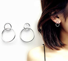 Sterling Silver Simple Eternity Infinity Link Double Circles Drop Stud Earrings