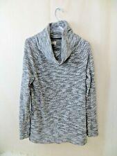 Lou & Grey Loft Sweater size L black white marled cowl neck lightweight