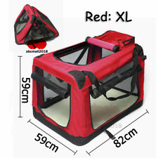 Red Fabric Soft Pet Travel Crate Kennel Cage Carrier House Dog Cat 82*59*59CM UK