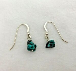 """Sterling Silver .925 Natural Green Turquoise Nugget 1"""" Drop Earrings #1"""