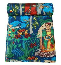 5 Yard Indian Handmade Frida Kahlo Print Fabric Cotton Dress Making sewing craft